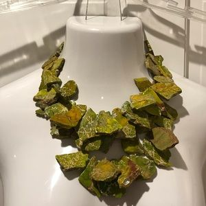 Green Uncut Stone Statement Necklace